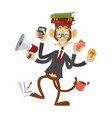 cartoon monkey businessman stress dancing isolated vector image
