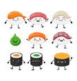 cute cartoon sushi set characters kawaii sushi vector image vector image