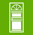 door with an arched glass icon green vector image vector image