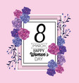 emblem card with roses and leaves to womens day vector image vector image