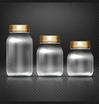 Empty glass jars with lods for grandma kitchen vector image