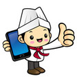 executive chef character is holding a smartphone vector image vector image