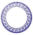 grunge textured greek classic round frame vector image