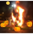 Halloween - the pumpkin around the campfire vector image vector image