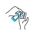 hands applying antibacterial icon half color half vector image vector image