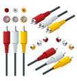 isometric set of audio video cable input vector image