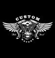 monster engine with wings t-shirt design on dark vector image