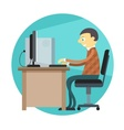 Office man working by vector image