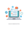 online communication flat with icons vector image vector image