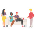 people drinking friends sitting on sofa vector image vector image