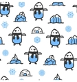 Seamless pattern with cute doodle penguin vector image