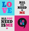 Set of 4 valentines day and typography elements B vector image