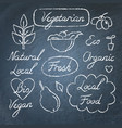 set of eco food lettering and symbols on vector image