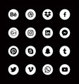social media round white icons alphabetical order vector image