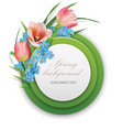 spring background round template with bouquet of vector image