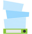 stack documents and assignments on folder vector image