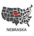 state nebraska on map usa vector image vector image
