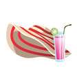 straw hat and cocktail drink summer objects vector image vector image
