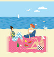 three young women on beach vector image vector image