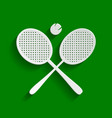 two tennis racket with ball sign paper vector image vector image
