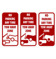 vehicles tow away road sign - no car parking sign vector image vector image