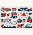vintage colorful screen printing elements set vector image vector image
