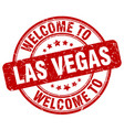 welcome to las vegas red round vintage stamp vector image vector image