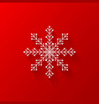white snowflake flat icon with red background vector image
