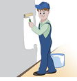worker with roller and paint vector image vector image