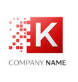 letter k logo symbol in the colorful square with vector image
