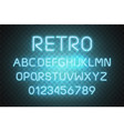 light neon font alphabet glowing text vector image