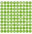 100 flowers icons hexagon green vector image vector image