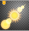 abstract gold sun and energy ring on transparent vector image vector image