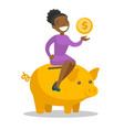 african manager putting a coin in a piggy bank vector image