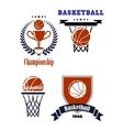 Basketball sporting symbols or logos vector image vector image