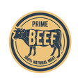 beef stamp - label with cow natural prime meat vector image vector image