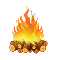 bright bonfire burning logs orange spurts of vector image
