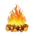 bright bonfire burning logs orange spurts vector image