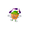 brioche mascot with juggling on white background vector image vector image