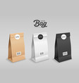 brown white black paper bag folded mouth bag vector image vector image