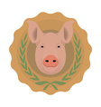 Butchery logo Pig head in laurel wreath No outline vector image vector image