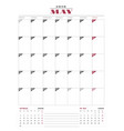 calendar planner template for 2018 year may vector image vector image