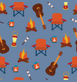 camping items seamless pattern background vector image