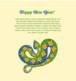 Christmas card with colorful snake vector image vector image