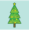 christmas tree with decorative illumination vector image