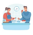 couple in kitchen man and woman preparing vector image vector image