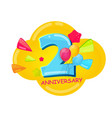 cute cartoon template 2 years anniversary vector image vector image