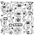 dancing robots - doodles vector image vector image