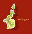 detailed sticker map of wellington new zealand vector image vector image