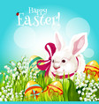 easter rabbit and egg in green grass greeting card vector image vector image